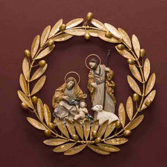 AQUALONIA NATIVITY IN OLIVE WREATH