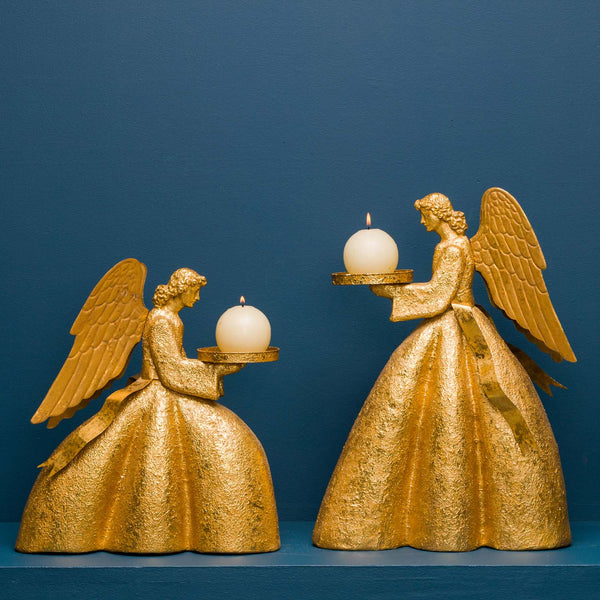 SITTING AVIGNON ANGEL PILLAR CANDLE HOLDER, GOLD