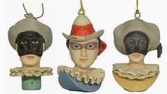 TIVELINO, ARLECCHINO & RACINE ORNAMENTS (set of 3)