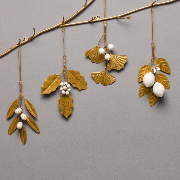 HOLLY ORNAMENT, WHITE AND GOLD