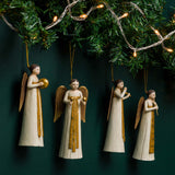 ROSELLIE ANGEL ORNAMENT SET 4, WHITE