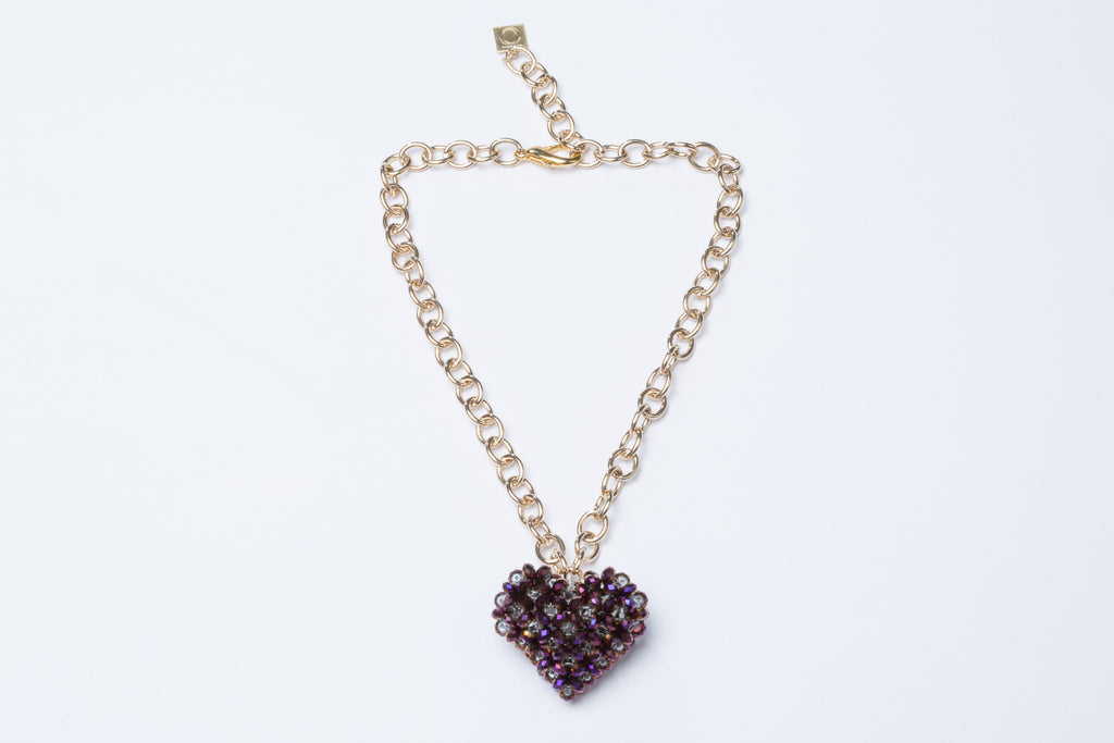 Metallic Purple Heart Necklace Gold Chain