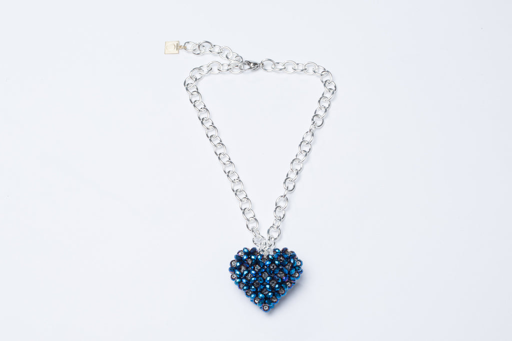 Metallic Blue Heart Necklace Silver Chain