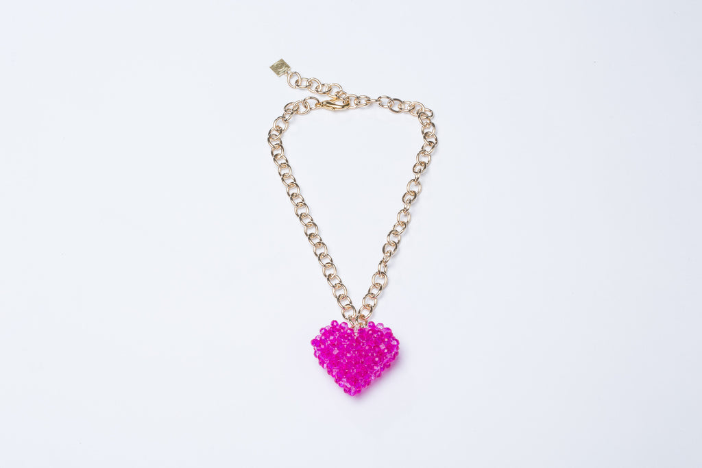 Pink Heart Necklace Gold Chain