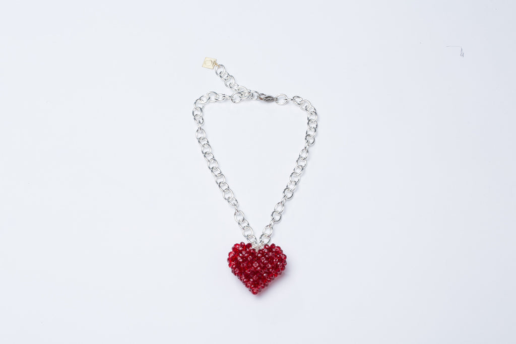Red Heart Necklace Silver Chain