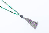 Chrysoprase Diamond Tassel Necklace