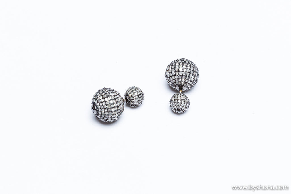 Pave Diamond Ball Earring