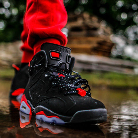 a56eb52b35bd4b Laced Up Laces Air Jordan 6 Black Infrared