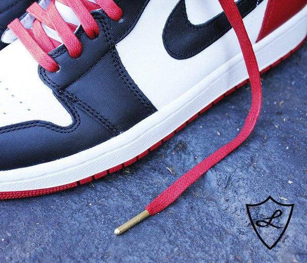 Laced Up Laces | Red Waxed Shoelaces | Flat Shoe laces | Red Shoestrings | Jordan 1 Shoelaces
