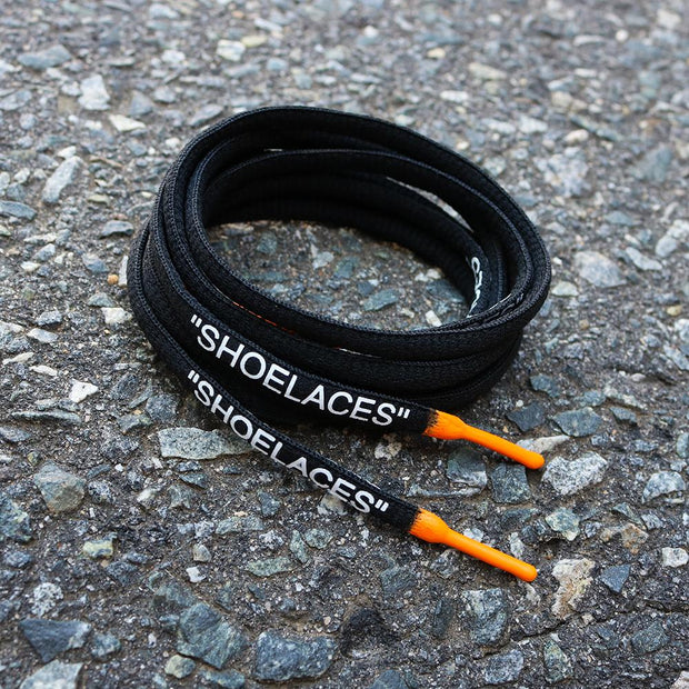 "BLACK/ORANGE DIPPED ""SHOELACES"""