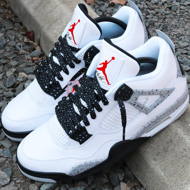 Jordan 4 laces | Jordan shoelaces | Laced Up Laces | Cement print laces | White cement 4
