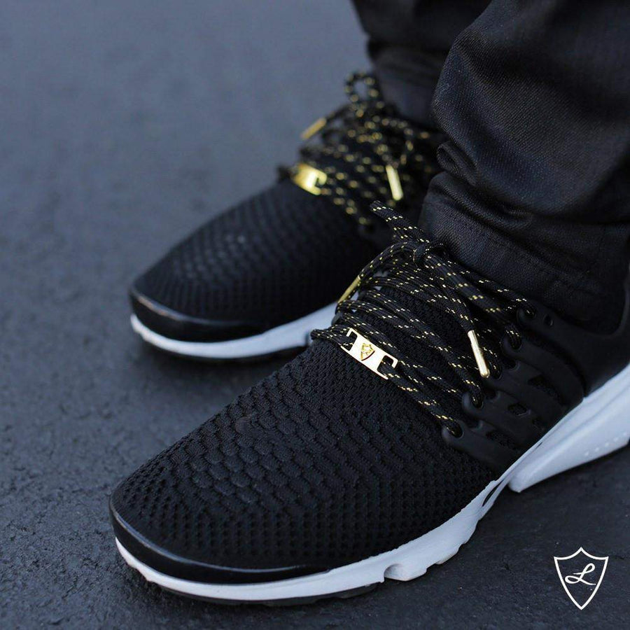Laced Up Laces | Black gold rope shoelaces | Gold aglets | Gold lace tips | Metal aglets | Gold tip shoelaces | Yeezy laces | NMD laces | Gold lace locks