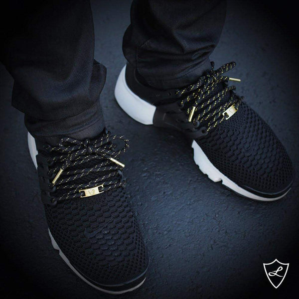 Laced Up Laces | Black gold rope shoelaces | Gold aglets | Gold lace tips | Metal aglets | Gold tip shoelaces | Nike Presto laces | Gold lace locks