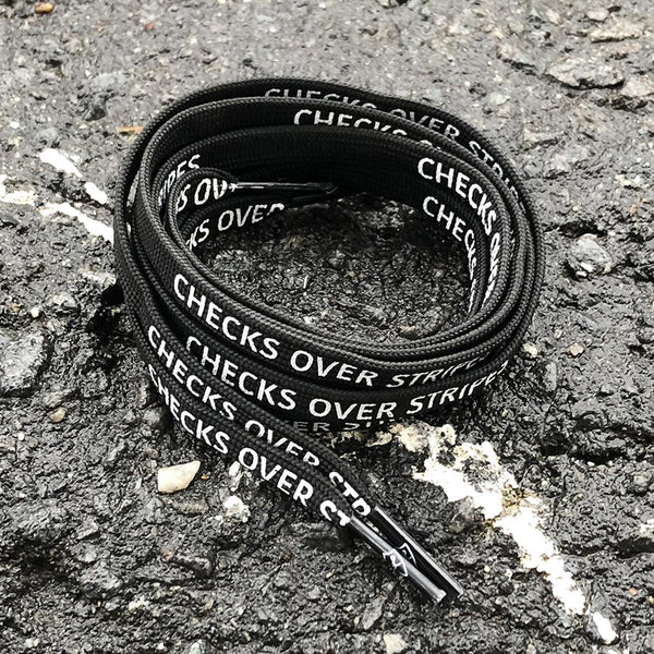 """CHECKS OVER STRIPES"" BLACK LACES"