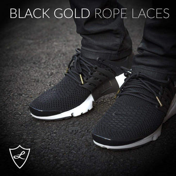Laced Up Laces | Black gold rope shoelaces | Gold aglets | Gold lace tips | Metal aglets | Gold tip shoelaces