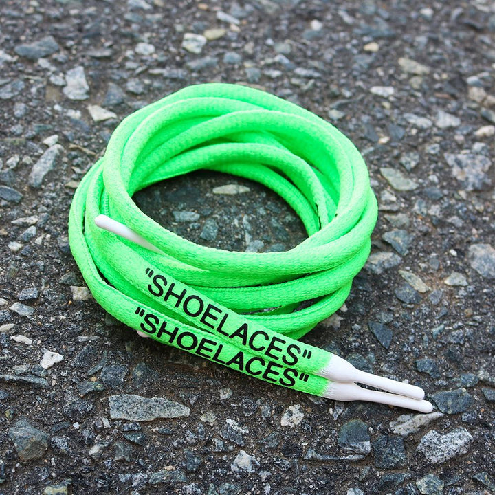 "NEON GREEN-WHITE DIPPED ""SHOELACES"""