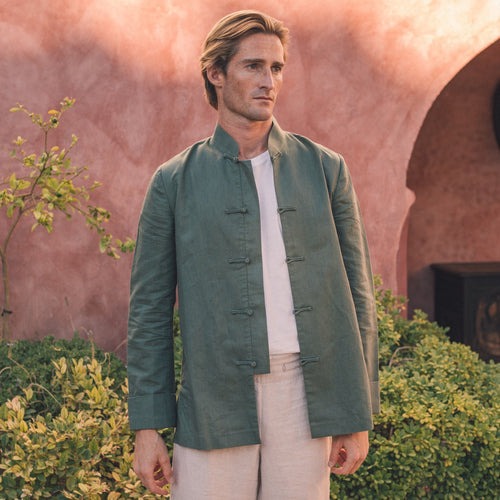 Khaki Green Linen jacket