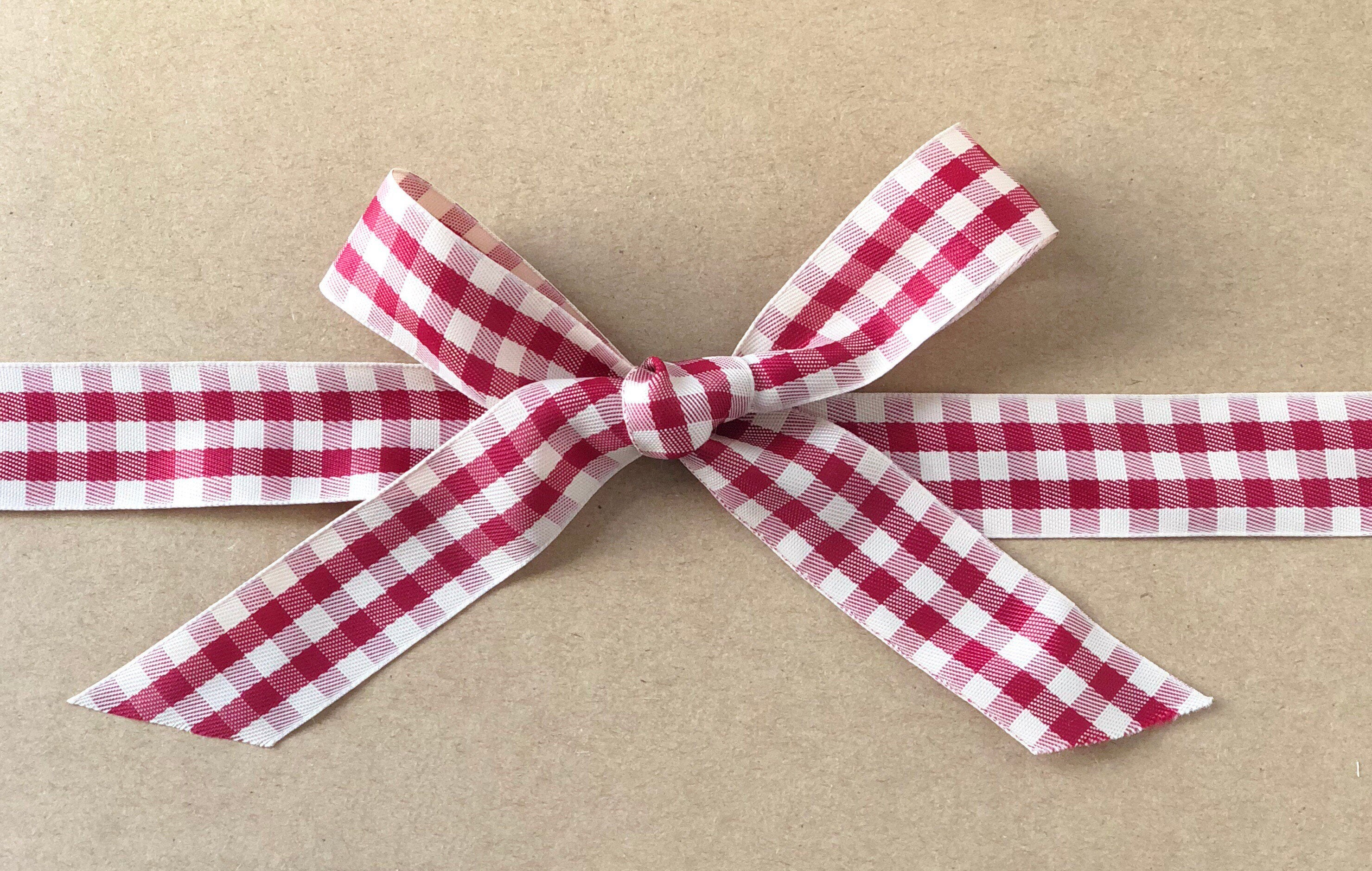 Red and White Gingham Plaid Ribbon