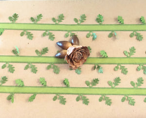 Oak Leaf and Acorn Ribbon on Spool -15ft (5yds)