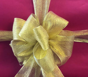 "2"" Sheer Gold Ribbon On Spool - 15ft (5yds)"