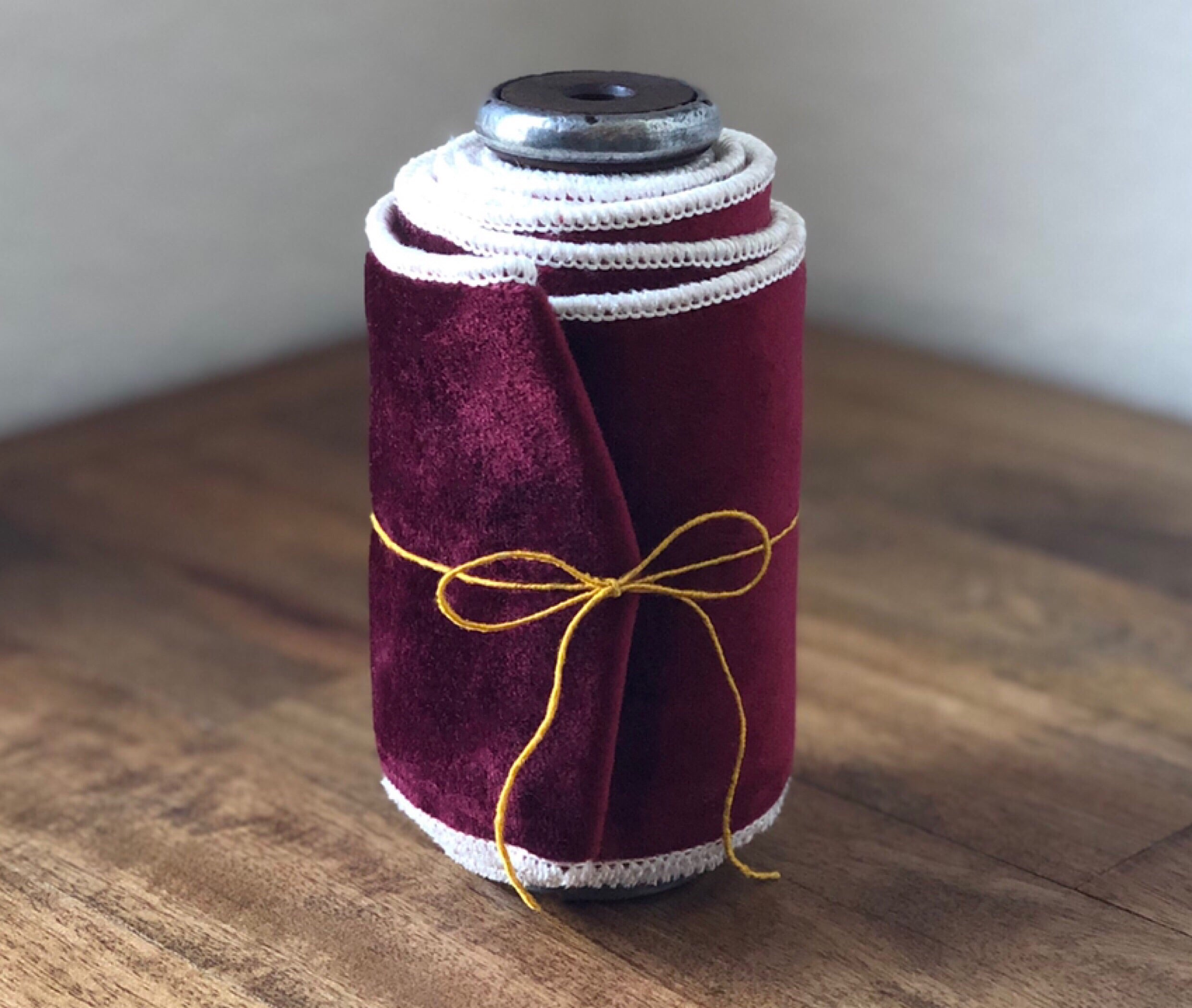Wide Double Sided Velvet on a Vintage Spool ~ Burgandy & Ivory