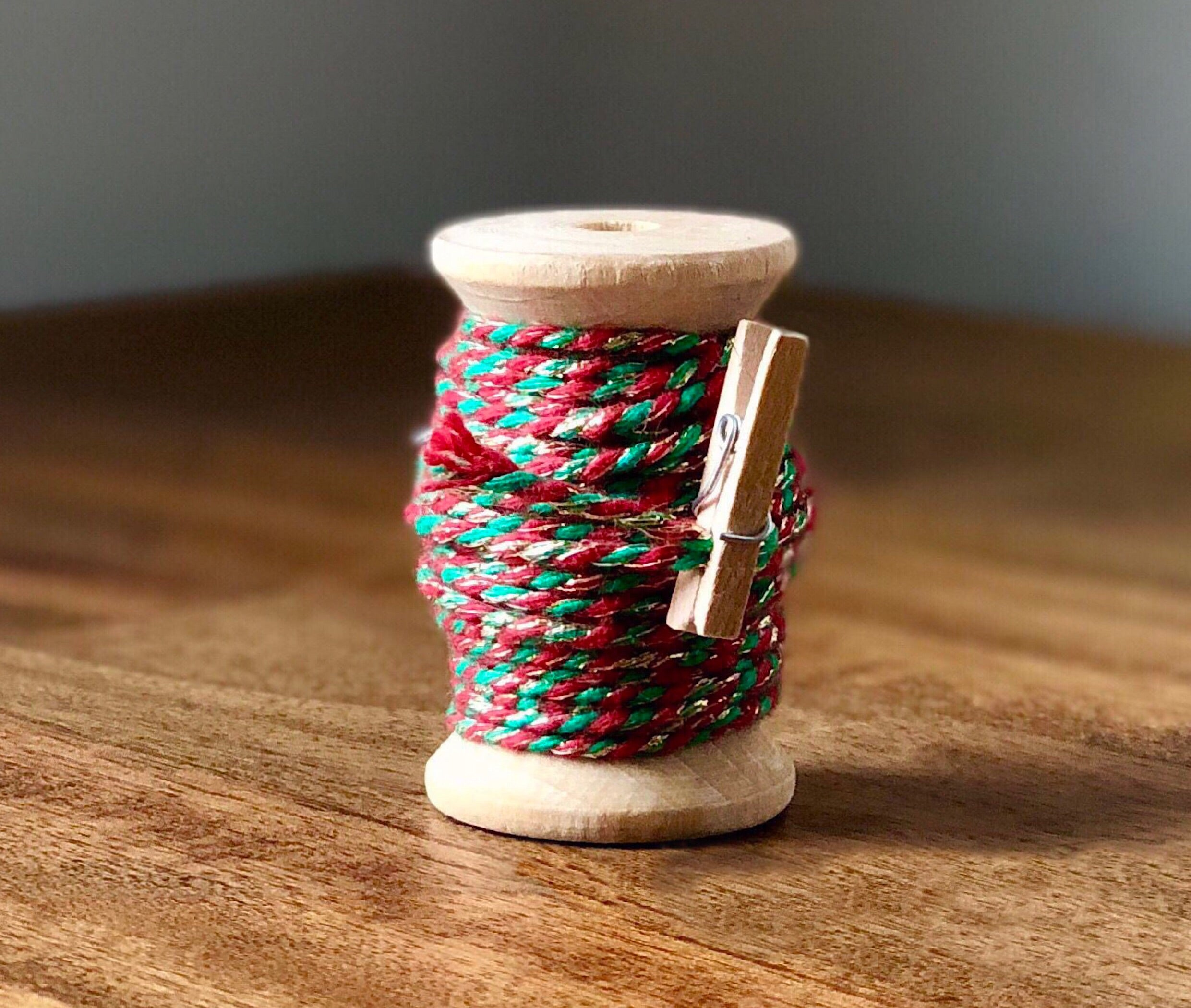 Green, Red and Gold Twine Spool - 20ft 8ply