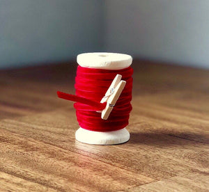 Thin Red Velvet Ribbon Spool ~ 15ft (5yds)