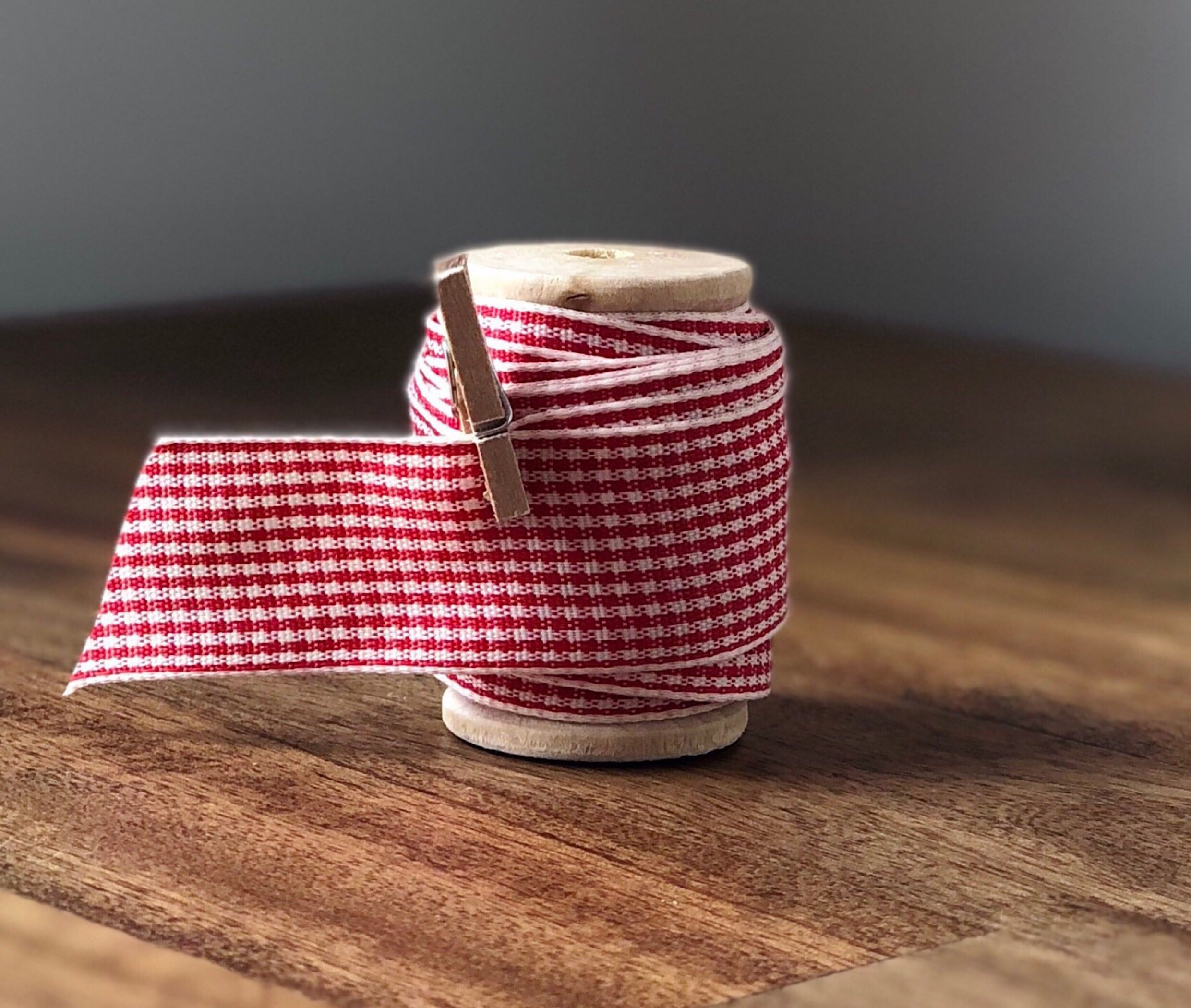 Red and White Checkered Plaid Satin Ribbon