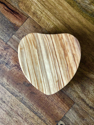 Olive Wood Heart Box with Magnetic Pivoting Lid