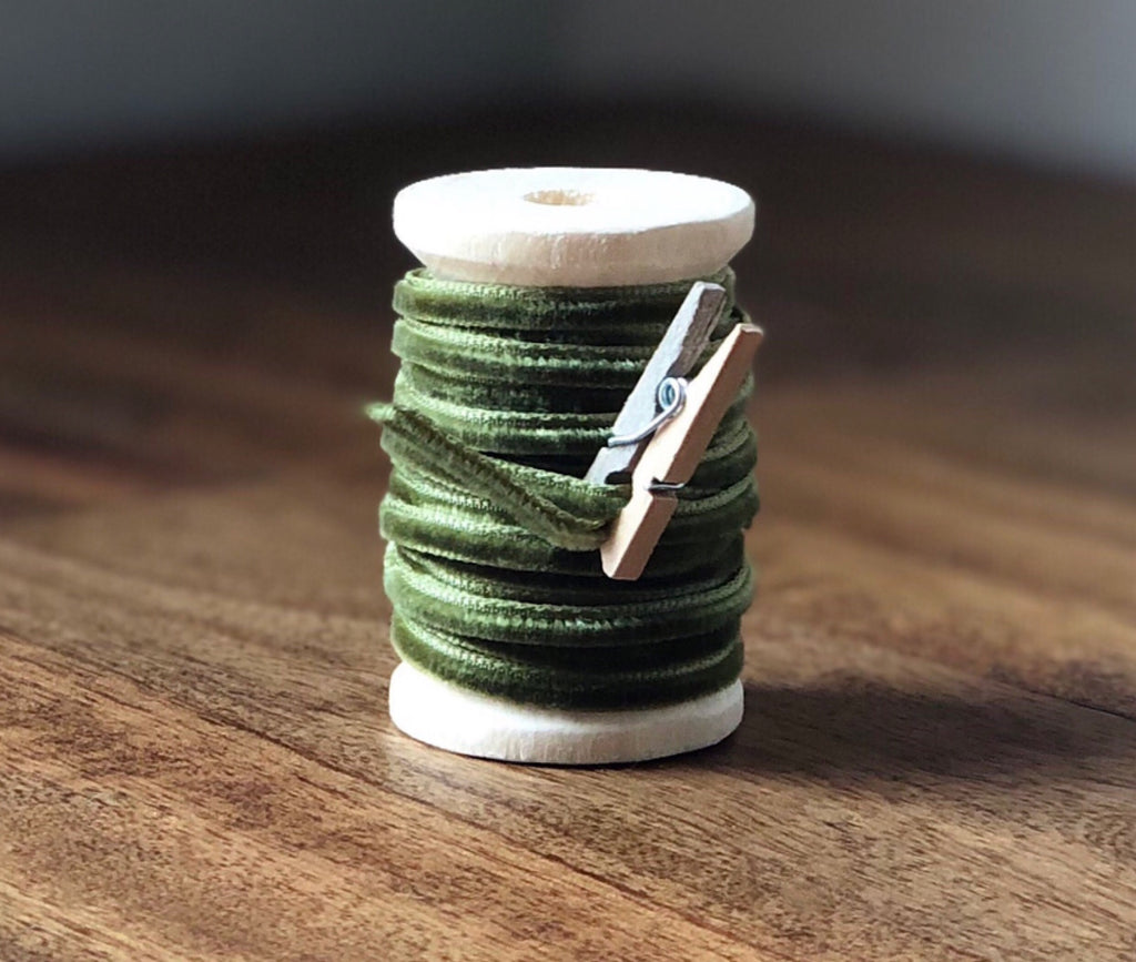 Thin Olive Green Velvet Ribbon Spool-15ft