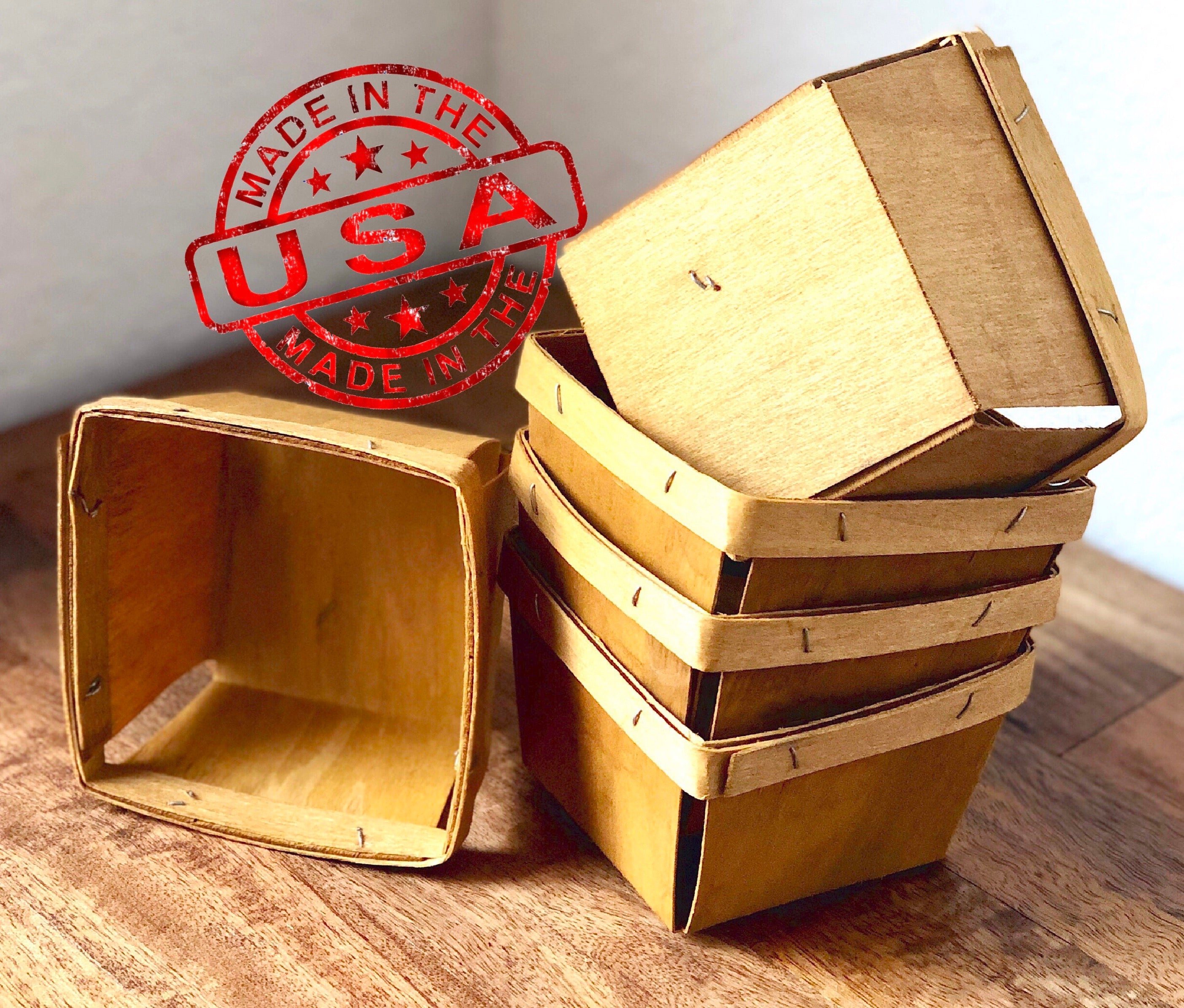 Wood Berry Baskets - Pint Size - Made in USA