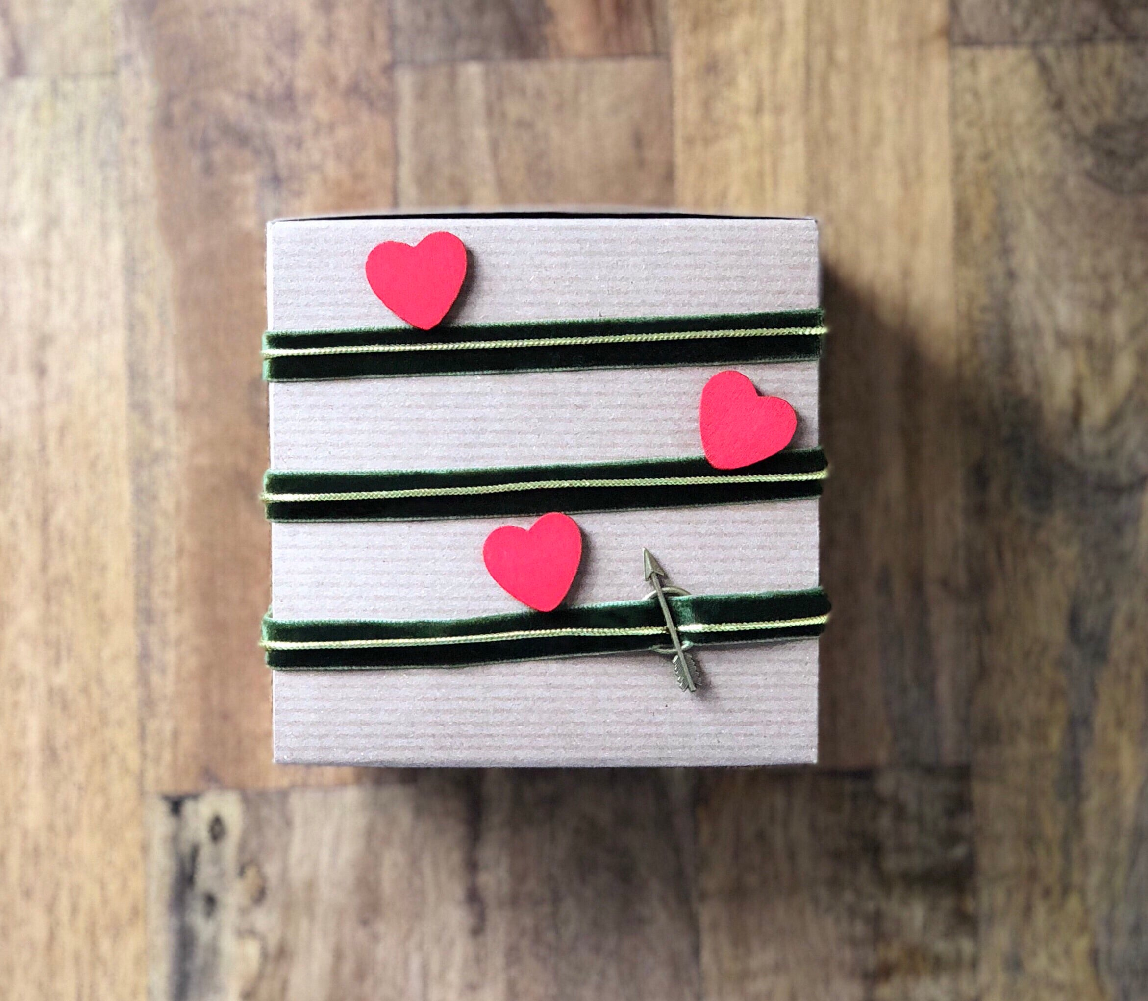Wood Heart Stickers - Red