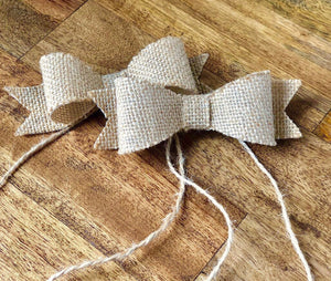 Burlap Bows with Adhesive & Twine