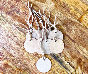 10 Natural Circle Kraft Paper Gift Tags with Twine