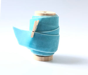 "1"" Wide Sky Blue Velvet Ribbon Spool"
