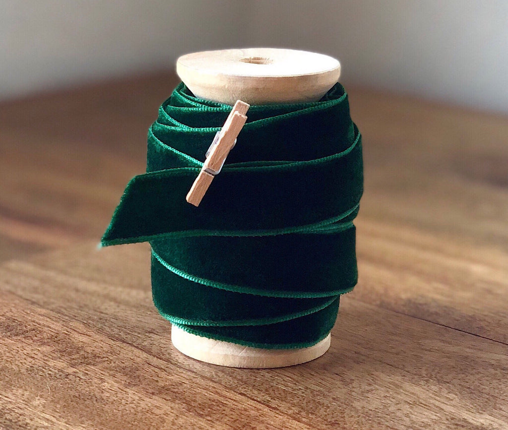 Green Velvet Ribbon Spool - 15ft (5yds)