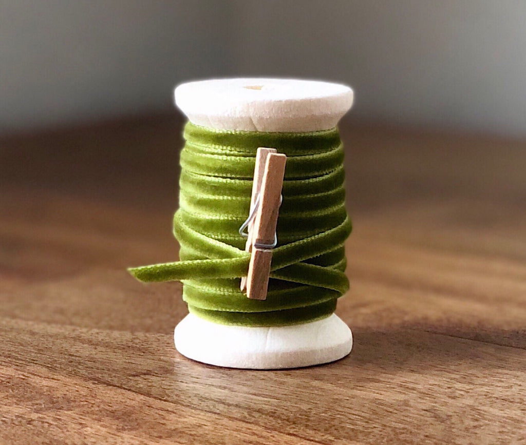 Thin Green Velvet Ribbon Spool