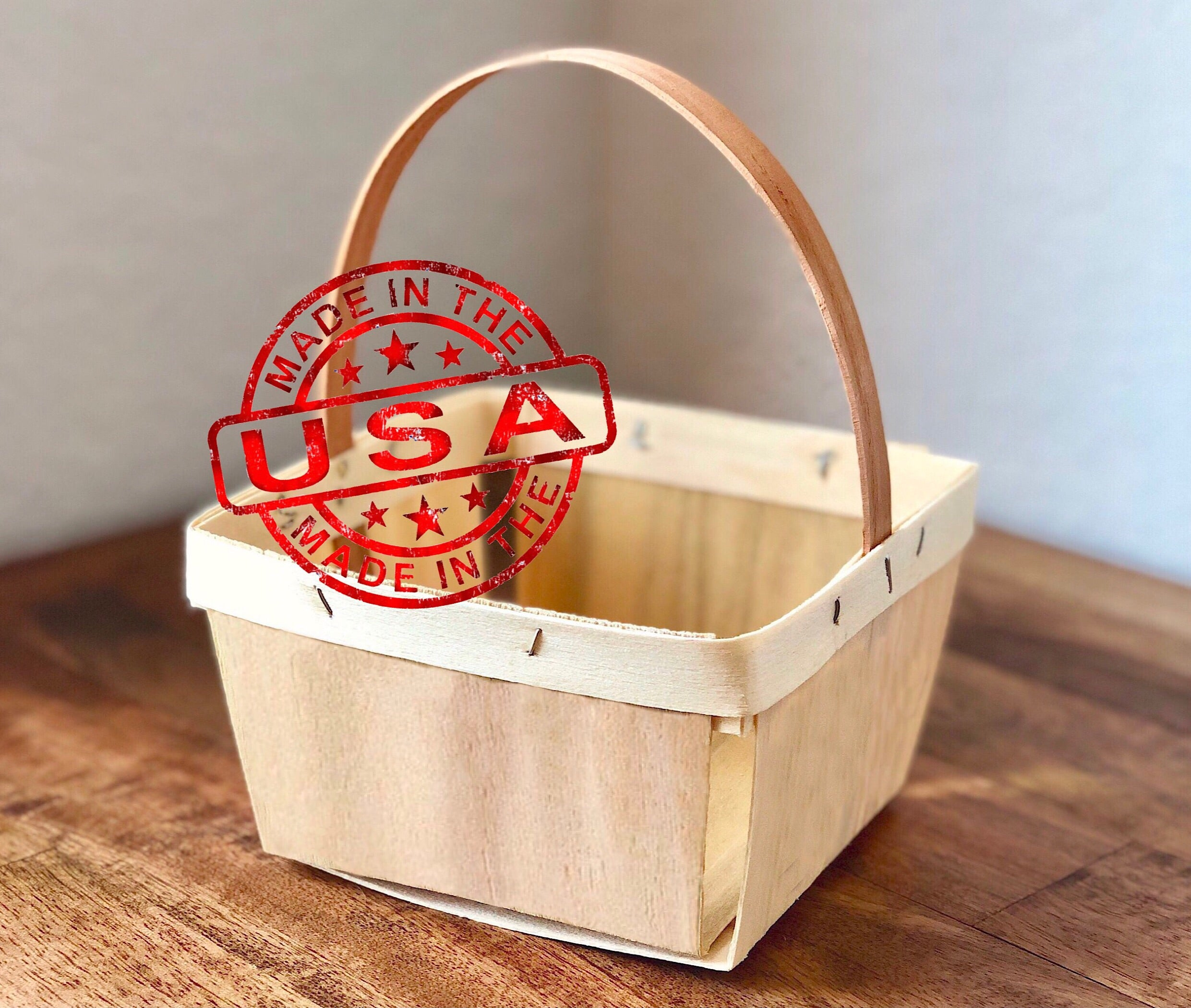 Natural Berry Basket with Handle - Quart Size - Made in USA