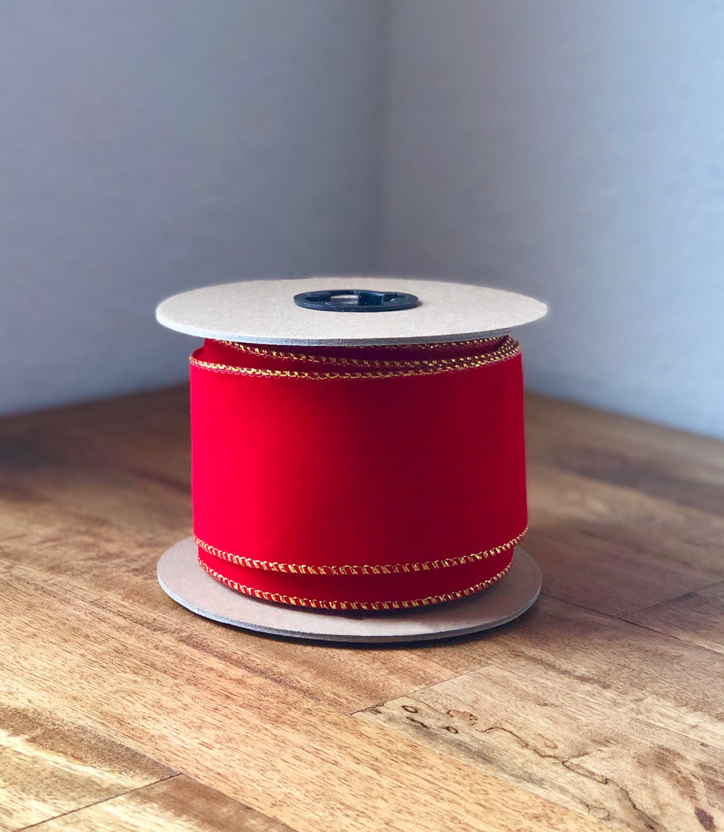 "10Yds Bulk Velvet Ribbon ~ 2.5"" Red with Gold Edge"