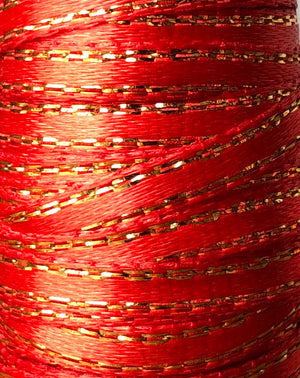 Red and Gold Thin Satin Ribbon - 15ft (5yds)