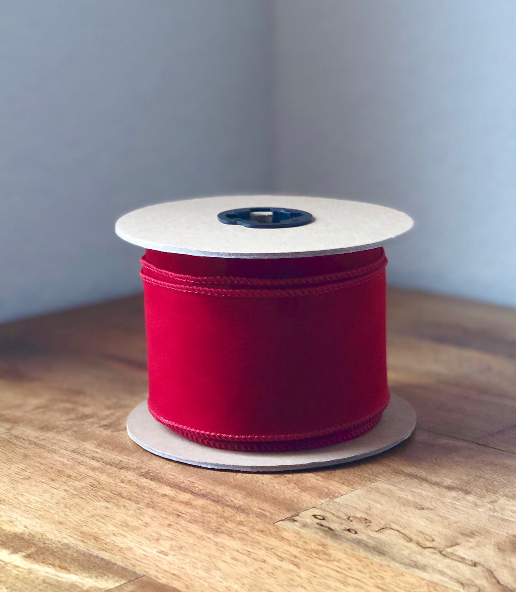 "10Yds Bulk Velvet Ribbon ~ 2.5"" Brick Red"