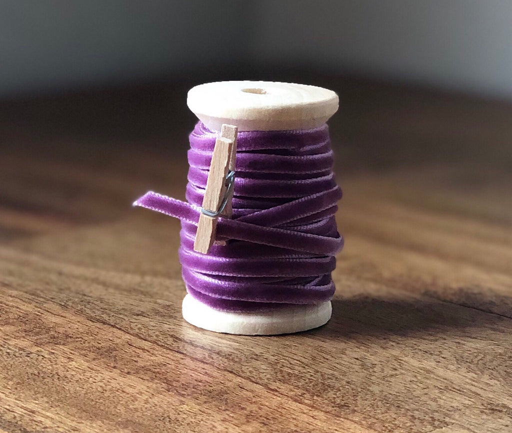 Thin Dark Lavender Velvet Ribbon Spool-15ft