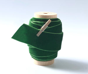 "1"" Wide Green Velvet Ribbon Spool"