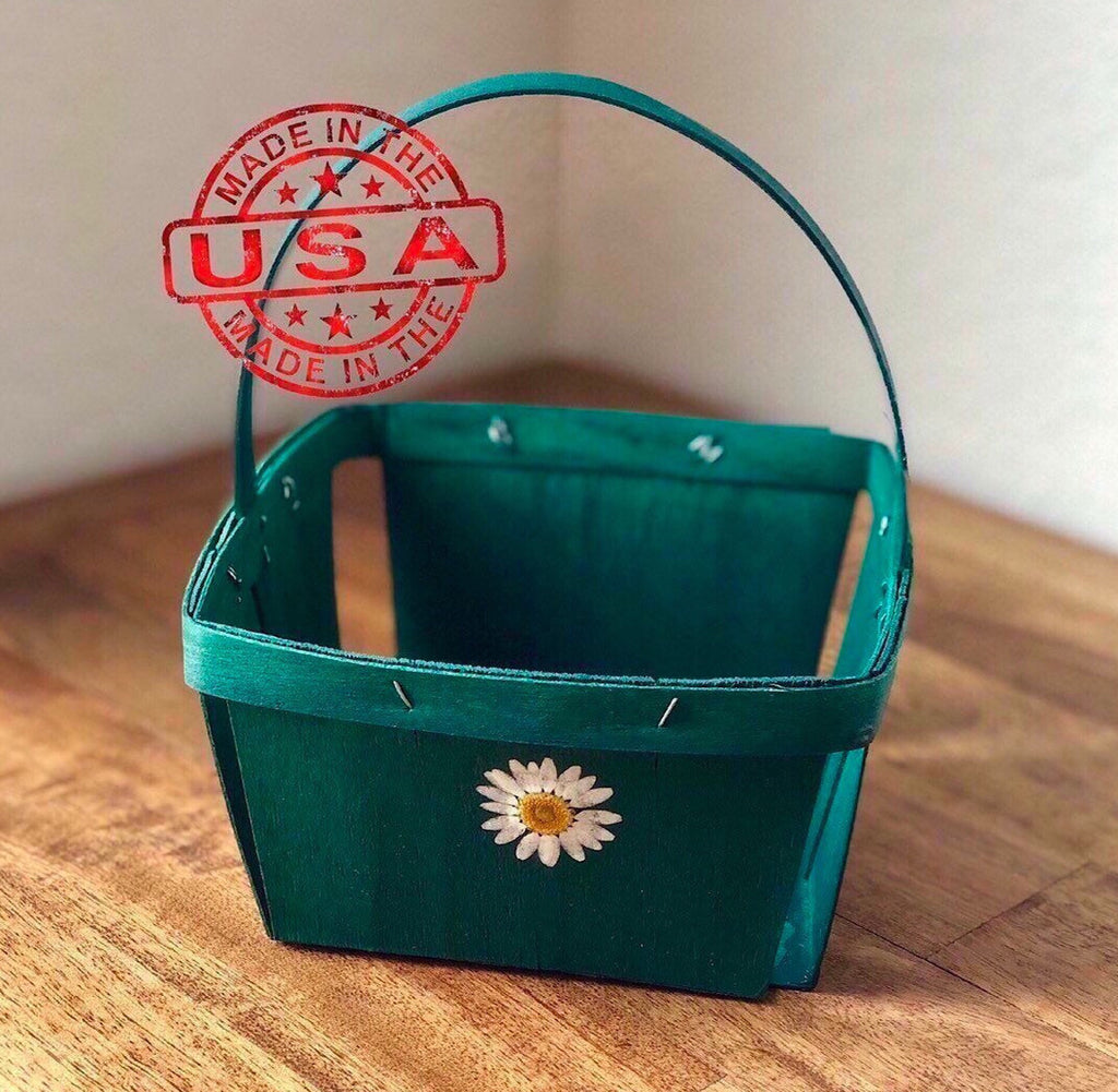 Green Berry Basket with Handle and Pressed Flower - Quart Size - Made in USA
