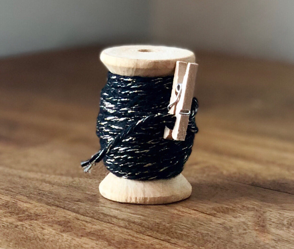 Black and Gold Twine Spool - 20ft 8ply