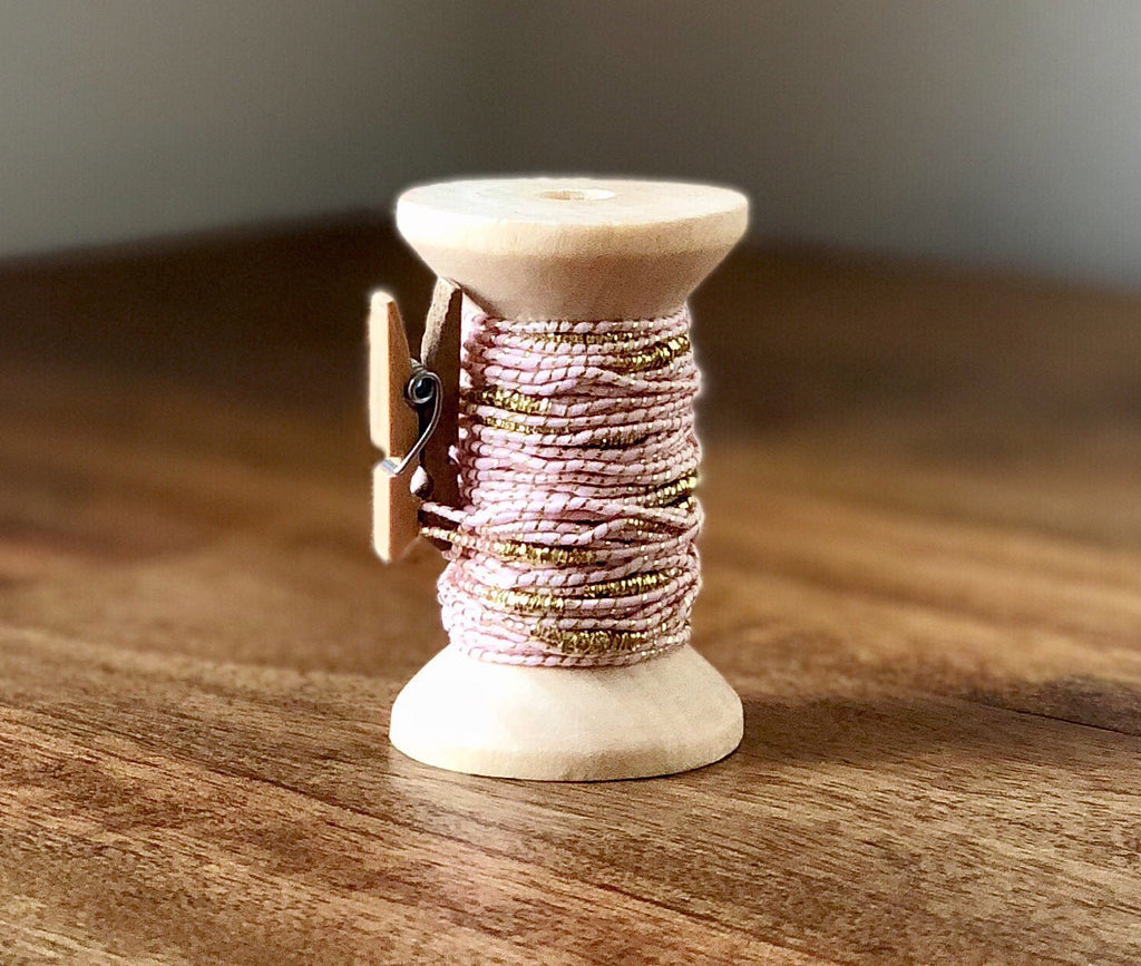 Pink and Gold Cord Spool - 15ft 1mm Spool of Rosegold Cord