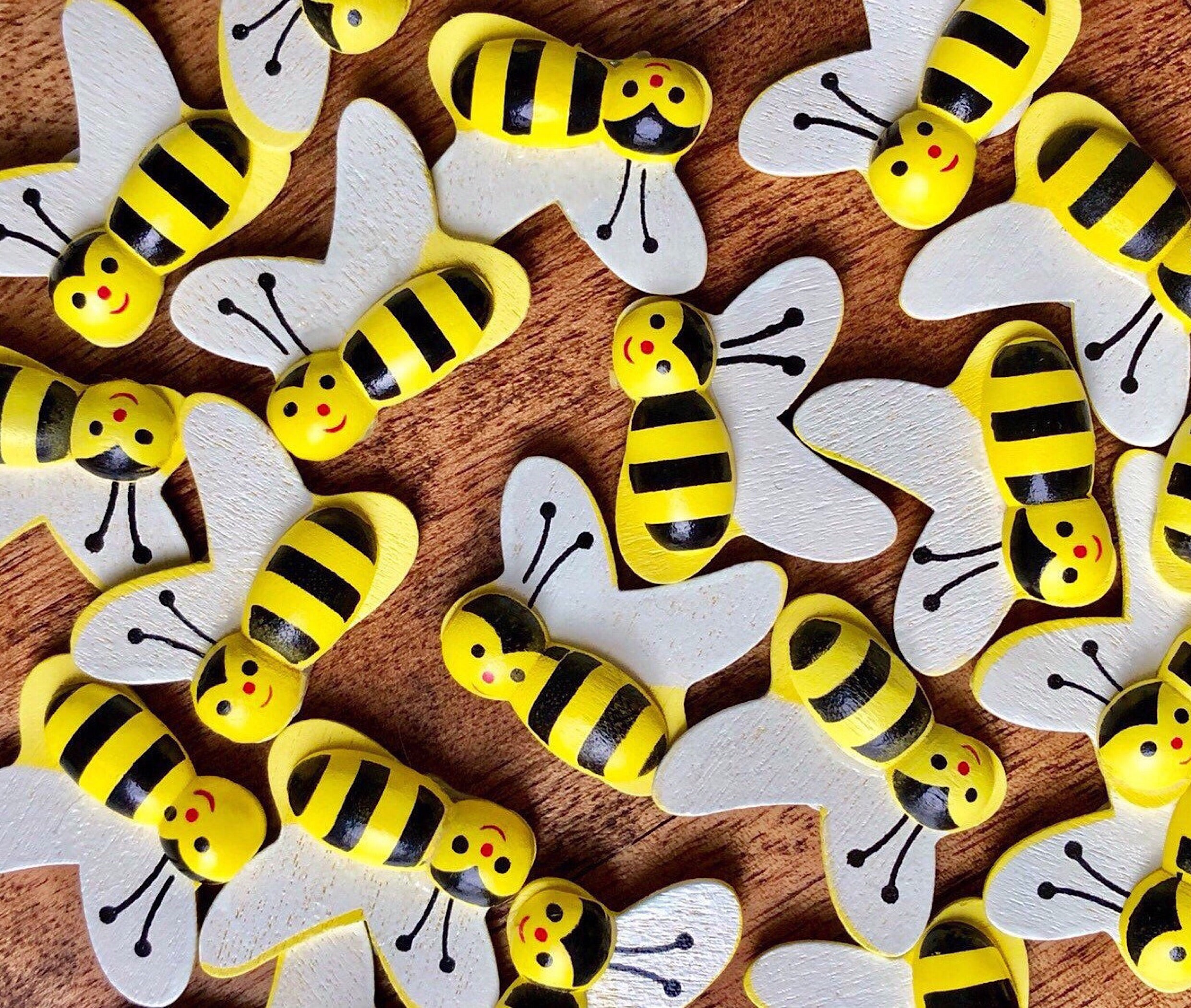 "10, 1"" Wood Bee Stickers"