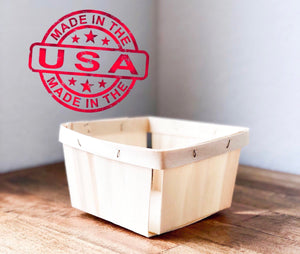 Wood Berry Baskets - Quart Size- Made in USA