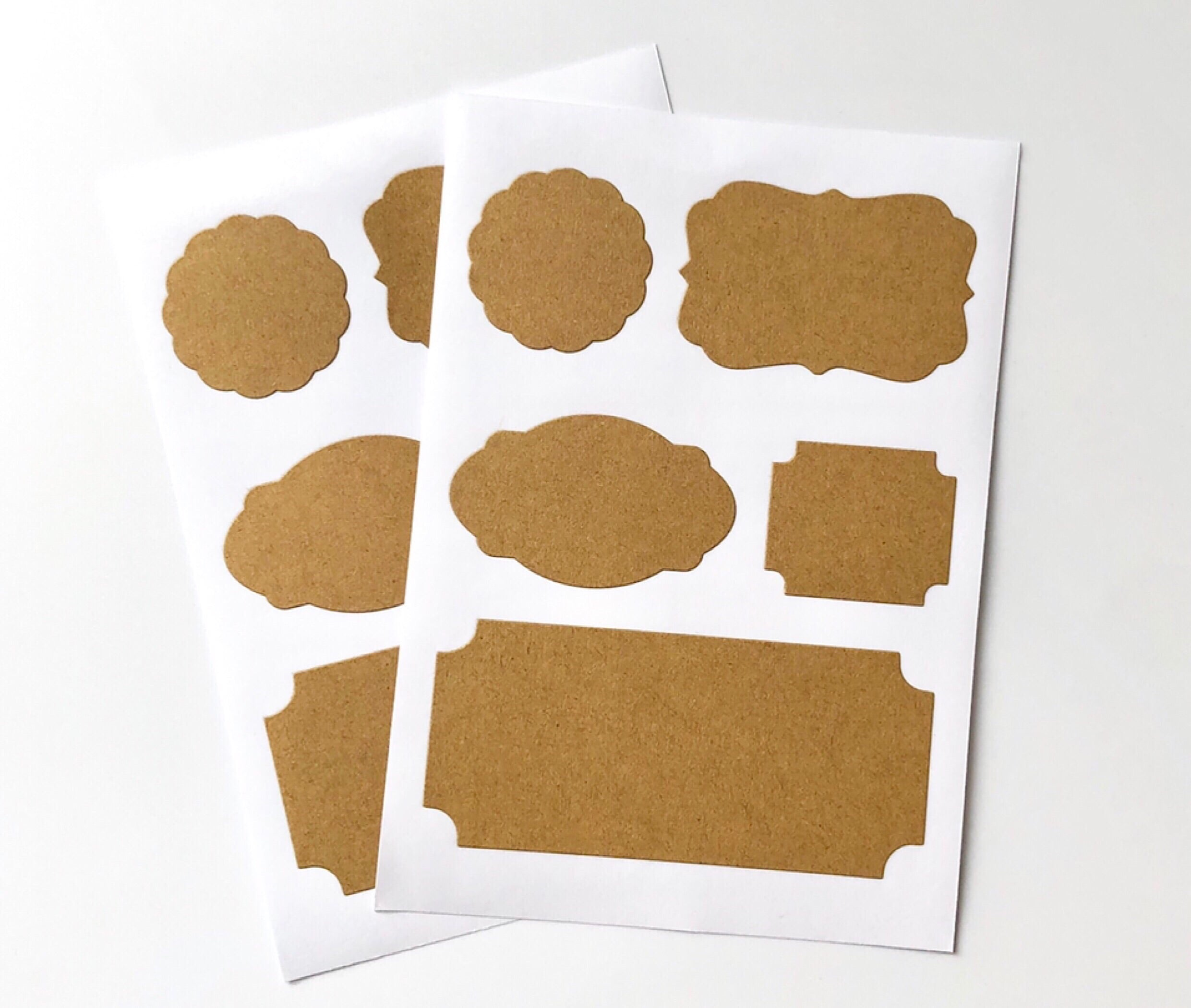 2 Sheets Kraft Sticker Tags