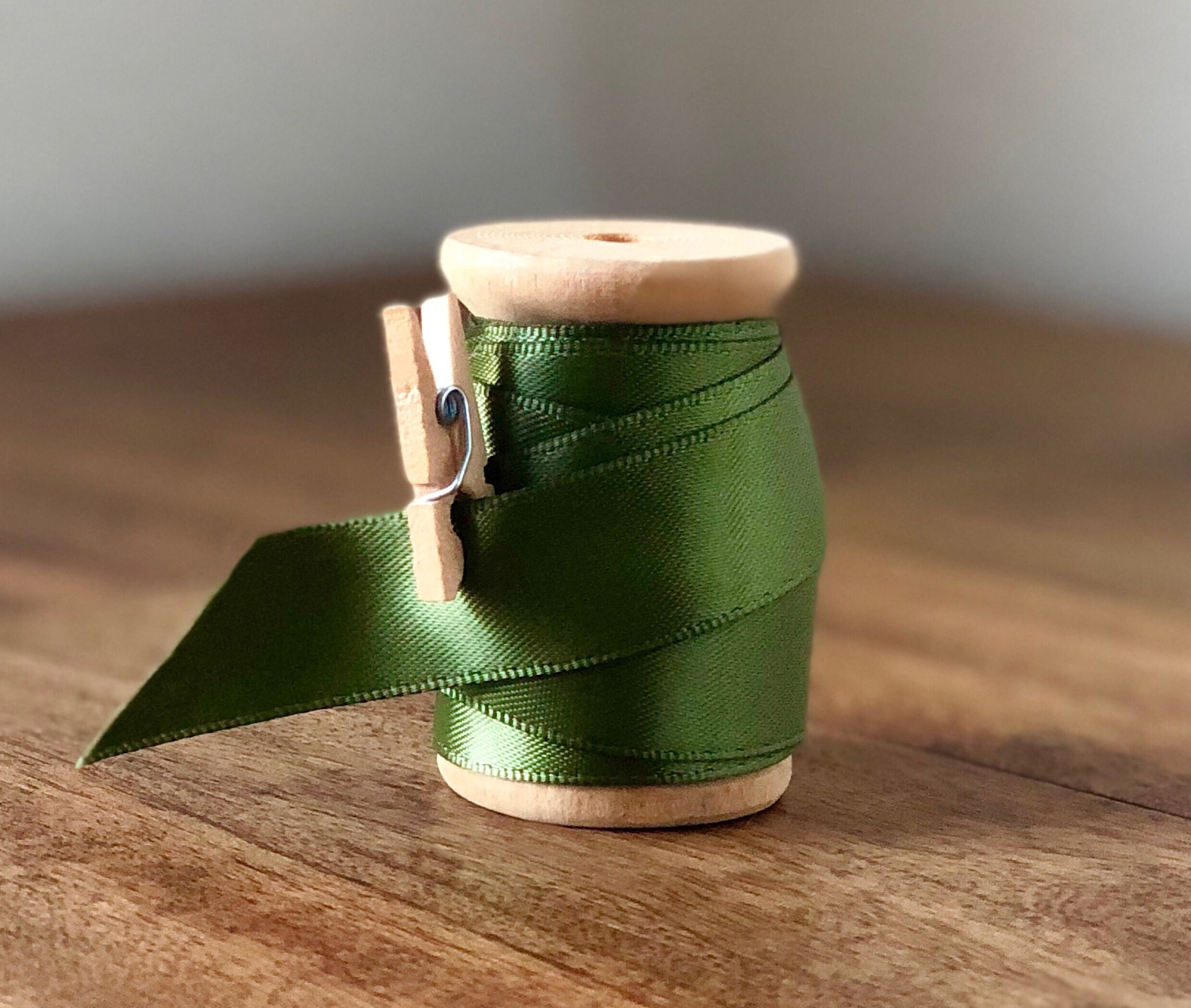 Green Satin Ribbon Spool - 15ft (5yds)